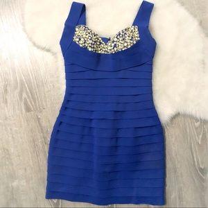 SHERRI HILL Blue Jewel Sweetheart Bandage Dress 0